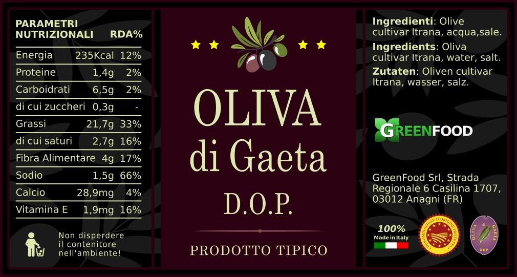 ETICHETTA OLIVA GAETA DOP