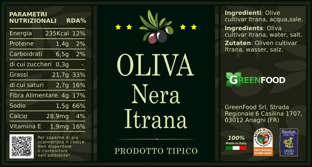 ETICHETTA OLIVA NERA